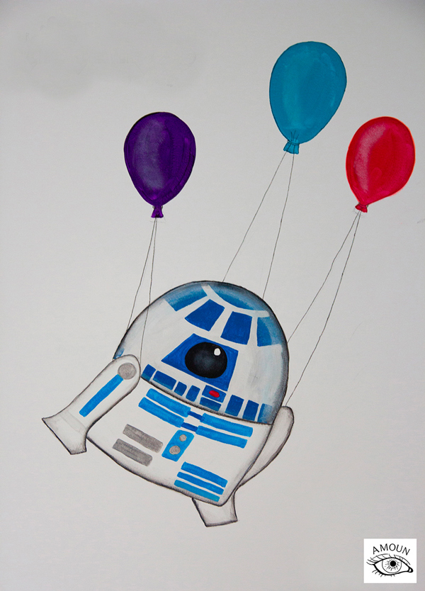 créations fresque R2D2 star wars