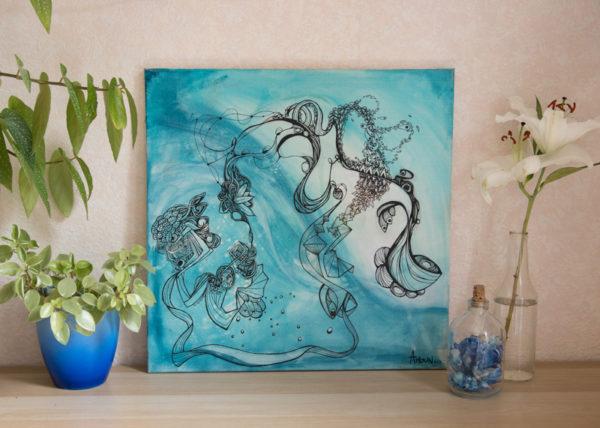 océan tableau dans décors réel table