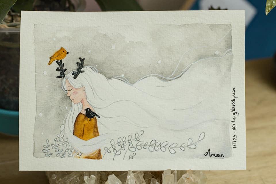 challenge créatif fille dessin amoun