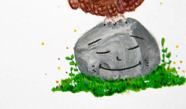 chouette illustration détails herbe gauche