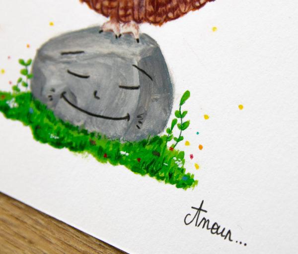 chouette illustration détails herbe droite