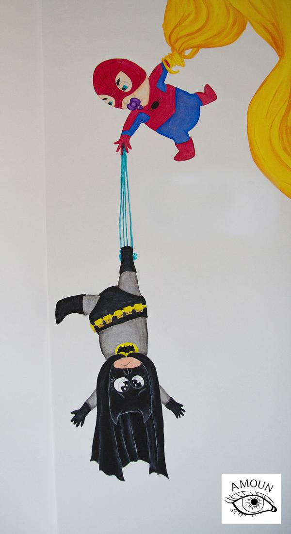 créations fresque batman et spiderman