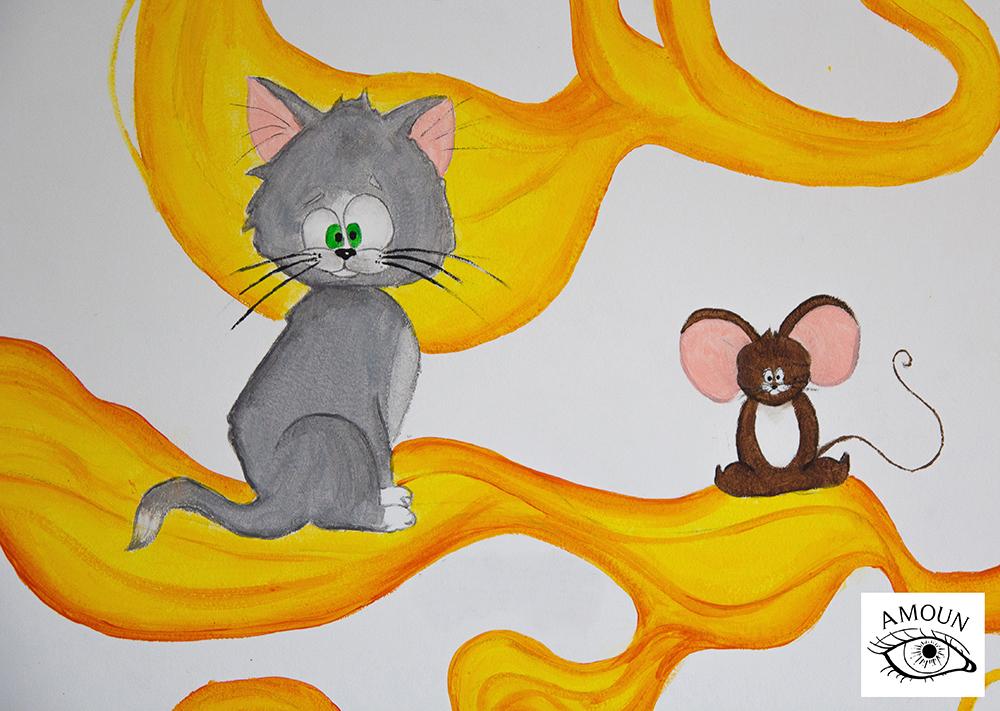 créations fresque tom et jerry