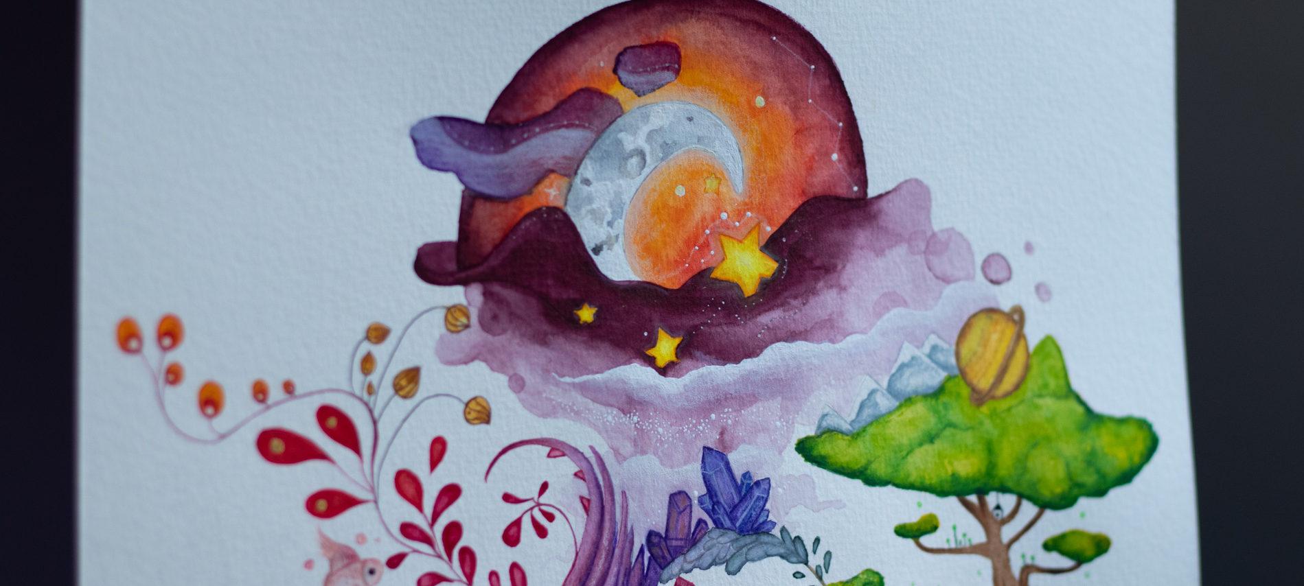 détails haut aquarelle livre